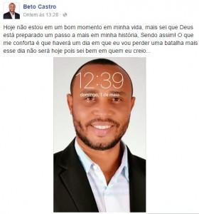 Vereador Beto Castro (PROS) em comentário em seu perfil no Facebook. (Foto/Reprodução)