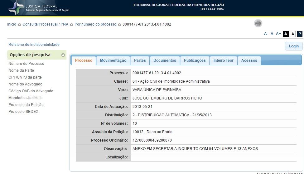 Processo contra relator da CPL movido pelo Ministério Público Federal do Piauí tramita na Justiça Federal do Piauí desde 2013